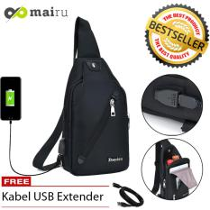Mairu DxYiZu 533 Tas Selempang Pria Sling Bag Cross Body With  USB Charger Support  For Iphone Ipad Mini Xiaomi Samsung Tab Tablet 8'' Anti Theft