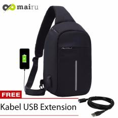 Mairu Tas Punggung Shoulder Bag Cross Body With  USB Charger Support  For Iphone Ipad Mini Samsung Tab Tablet 10'' Model XD Bobby Sling Bag - Black