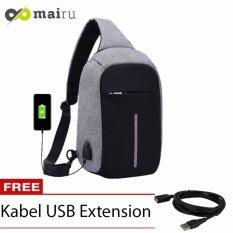 Mairu Tas Punggung Shoulder Bag Cross Body With  USB Charger Support  For Iphone Ipad Mini Samsung Tab Tablet 10'' Model XD Bobby Sling Bag - Grey