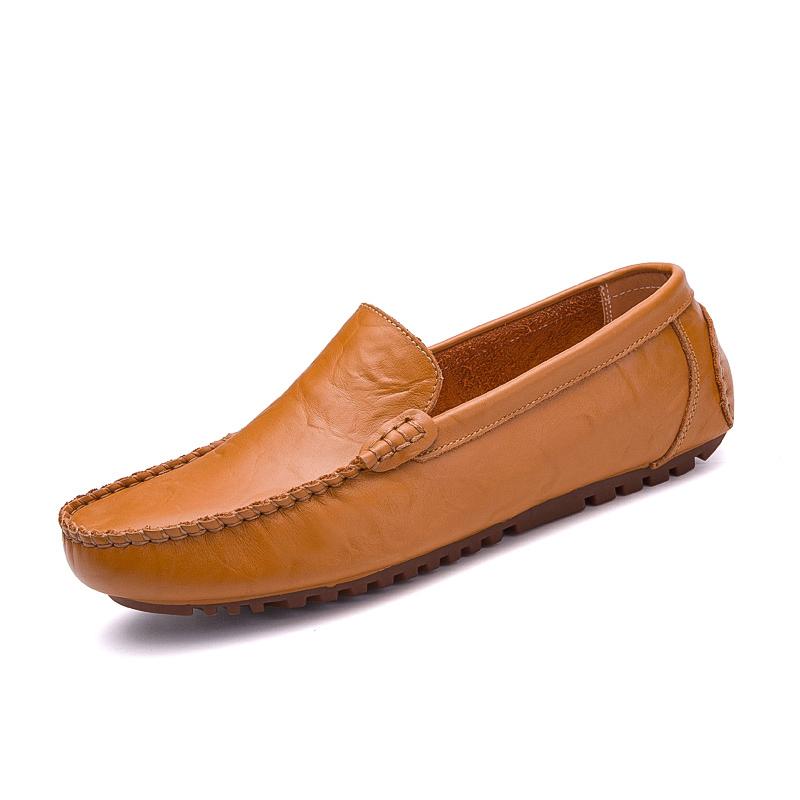 Flash Sale Malas British Ditambah Beludru Hangat Pedal Sepatu Peas Sepatu (1703 kuning coklat)