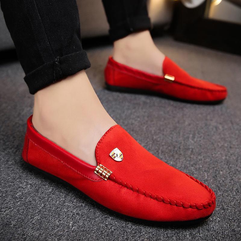 Flash Sale Malas musim gugur baru sepatu pria kasual sepatu Peas (Merah model fashion)