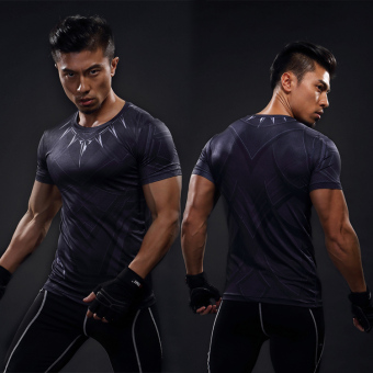 Man Wei laki-laki lengan pendek kebugaran t-shirt legging pakaian (Black Panther lengan pendek)