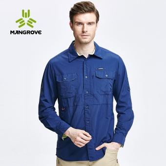 Mangrove luar ruangan pria bernapas lengan panjang kemeja kemeja (Biru NAVY)