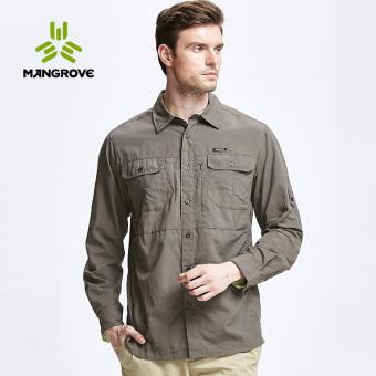 Mangrove luar ruangan pria bernapas lengan panjang kemeja kemeja (Coklat muda)