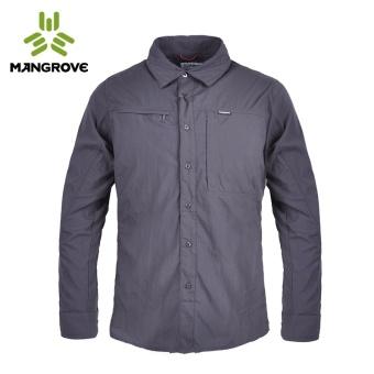 Mangrove luar ruangan pria perlindungan matahari bernapas kemeja kerah kemeja (Besi abu-abu yang mendalam)