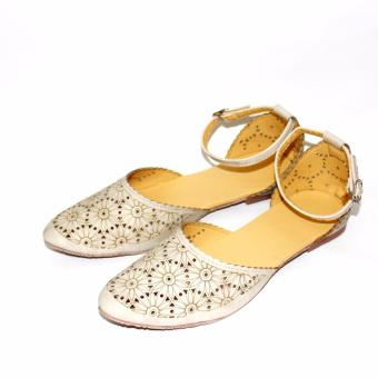 Marlee - Pointed Toe Ankle Strap Flat Shoes ERHN-02 Cream