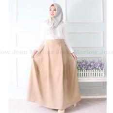 Marlow Jean Rok Panjang Rok Hijabers Simple / Women Long Skirt / Rok Polos Panjang - Coklat