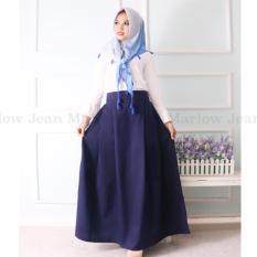 Marlow Jean Rok Panjang Rok Hijabers Simple / Women Long Skirt / Rok Polos Panjang - Navy