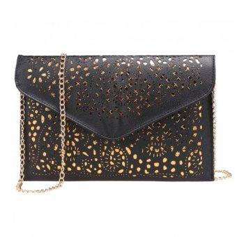 Marlow Jean Tas Vintage Hollow Out Floral Envelope Shape Tas Selempang Tas Pesta Clutch Bag - Hitam