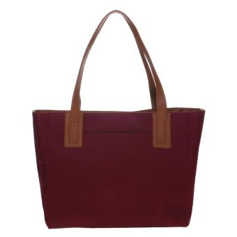 Mayonette Tas Branded Wanita Fashion Canvas Totes Shoulder High Quality Women Bags- Emma Canvas - Maroon