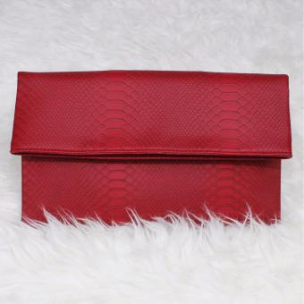 Mazuya Kalisha Tas Women Woman Wanita Pesta Leather Clutch Bag - Merah
