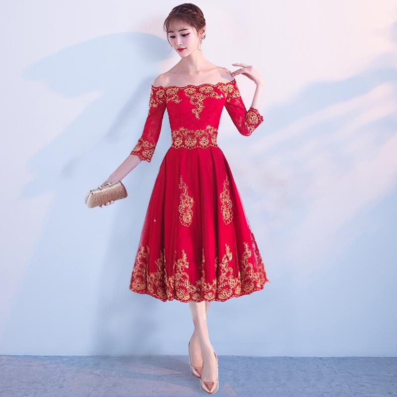 Flash Sale Mempelai Wanita Musim Dingin Menikah Baru Gaun Malam Baju Pelayanan (8058 Merah Tua