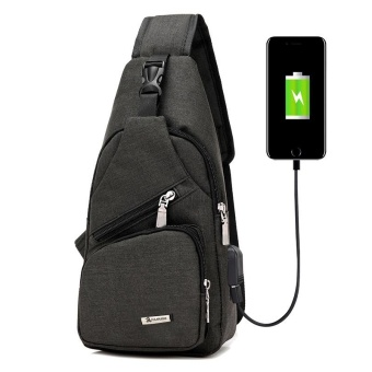 Men Travel Chest Pack Single Rucksack Chest Bags Shoulder Cross body Bag External USB Charge Backpack Women Back Pack - intl