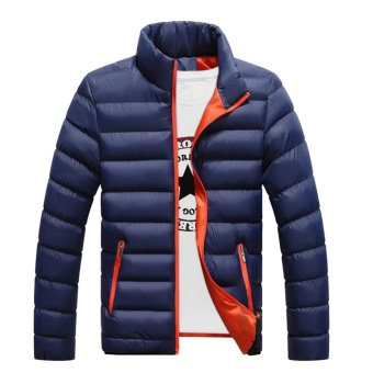 Men Winter Duck Down Slim Cotton Jacket Coat (Dark blue) - intl