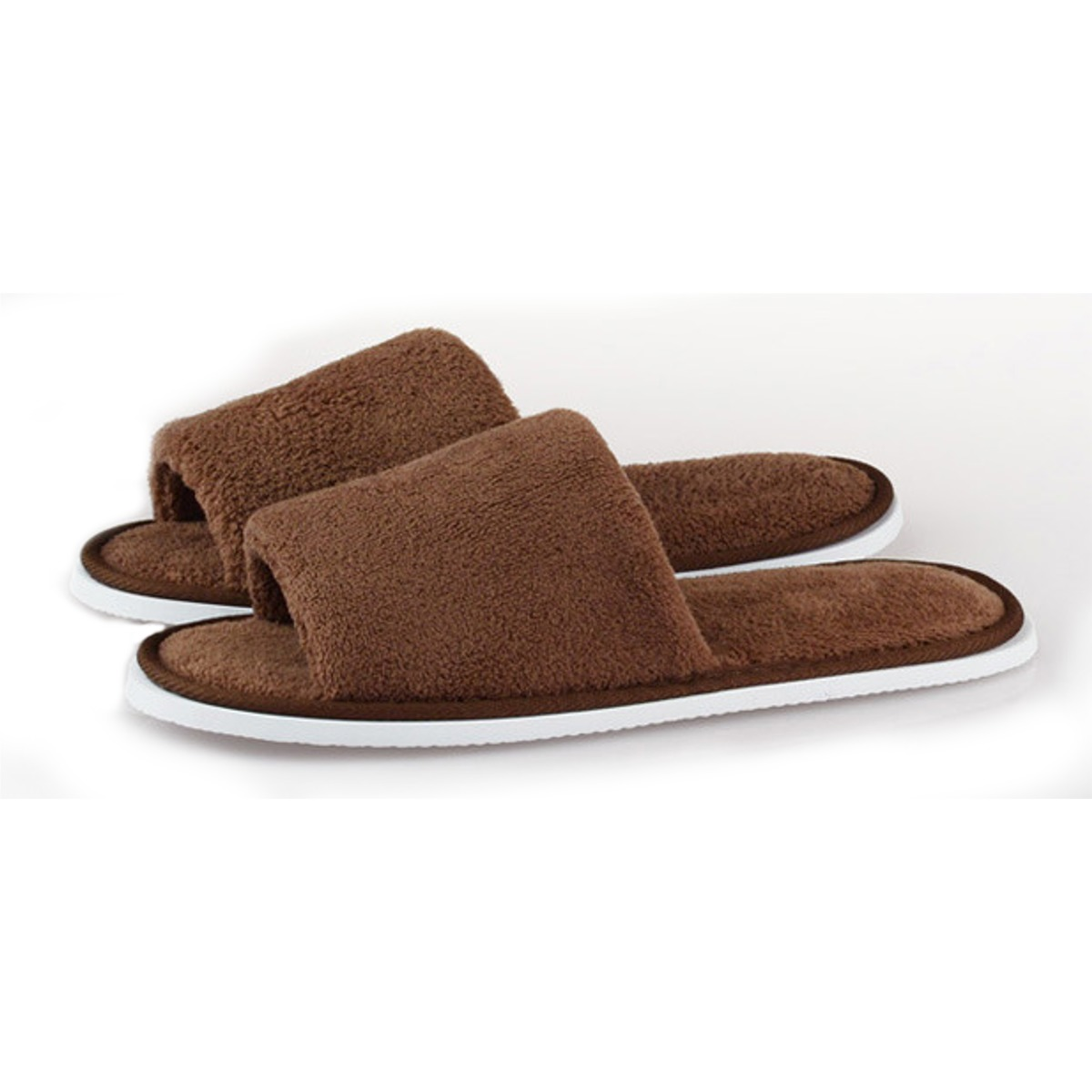 Men Women Coral Velvet Open Toe Hotel Home Spa Slippers Travel Shoes Thick 7mm Brown .