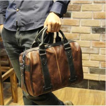 Men's Vintage Brown Leather Handbag Business Bag Shoulder Laptop Bag Briefcase