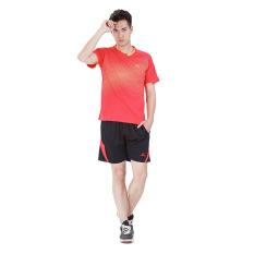Men's Running Football Tennis Badminton Ping Pong Balls SportsUniform Shirts and Shorts Set-Red Color