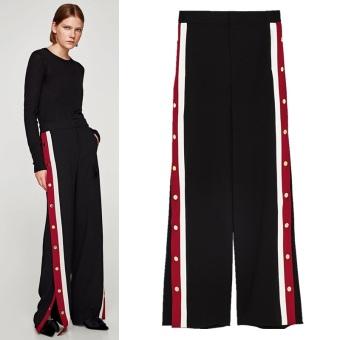 Merah dan putih elastis pinggang tinggi bergaris kasual celana panjang lebar kaki celana (Hitam)