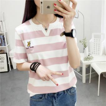 Merah muda musim panas bergaris lengan pendek v-neck t-shirt (Merah muda