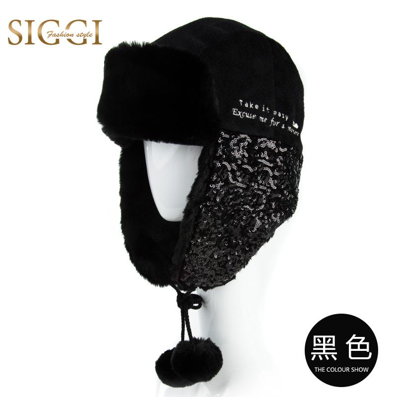 Mertens Korea Fashion Style payet wanita musim gugur topi topi ski topi (  Hitam) 56e7a9ce1a