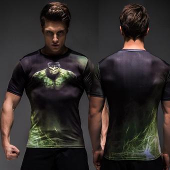 Penawaran Bagus Mixjoy Kaos Olahraga Pria Lengan Pendek Bahan Polyester Kerah Bulat Motif 3d (Hulk