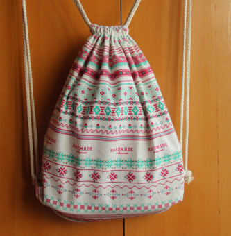 MIZO warna serut bahu kanvas tas pelabuhan balok tas (Putih MIZO)
