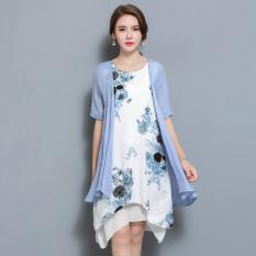 MM angin nasional kapas perempuan dicetak bagian panjang rok gaun (Langit biru)