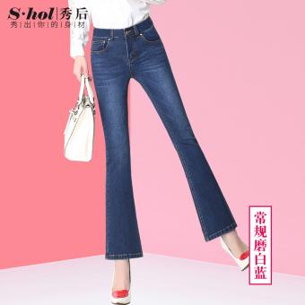 Online murah MM baru bel pinggang tinggi boot-cut celana jeans (Biru 306-