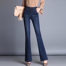 Mm musim gugur peregangan tipis besar celana jeans pinggang tinggi bell-bottoms (Biru tua