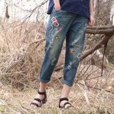 Mm musim semi baru angin nasional bordir bunga denim celana (Berat dicuci denim biru)