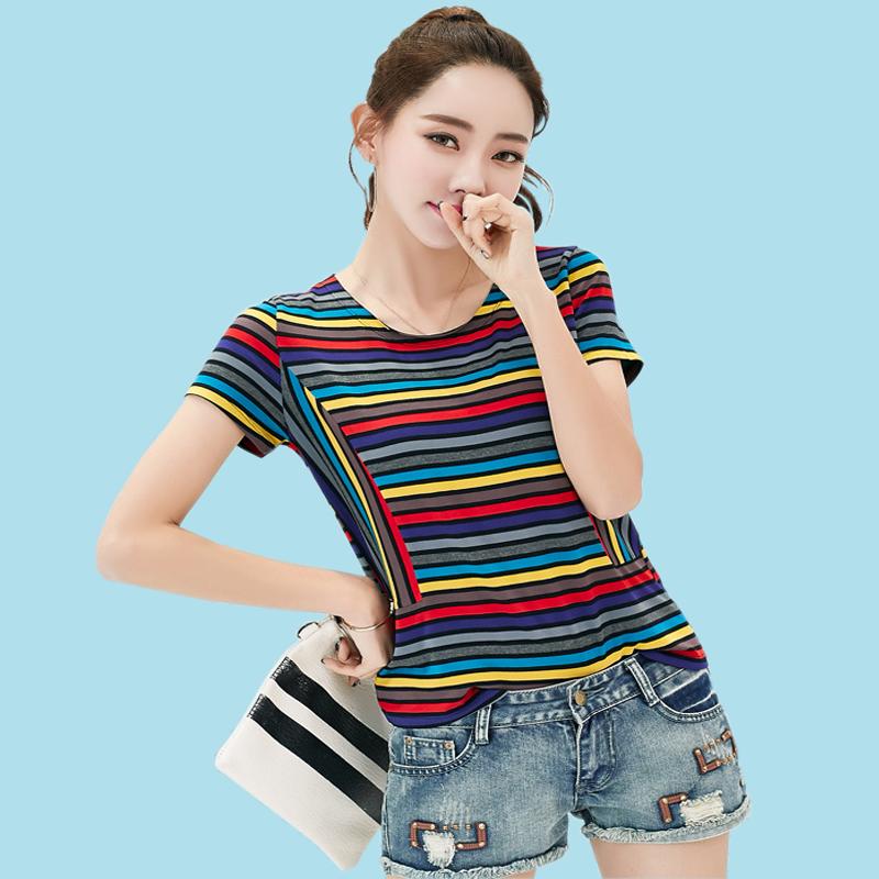 Longgar Korea Fashion Style Mahasiswa Baru Angin Bergaris Lengan Source MM perempuan lengan .