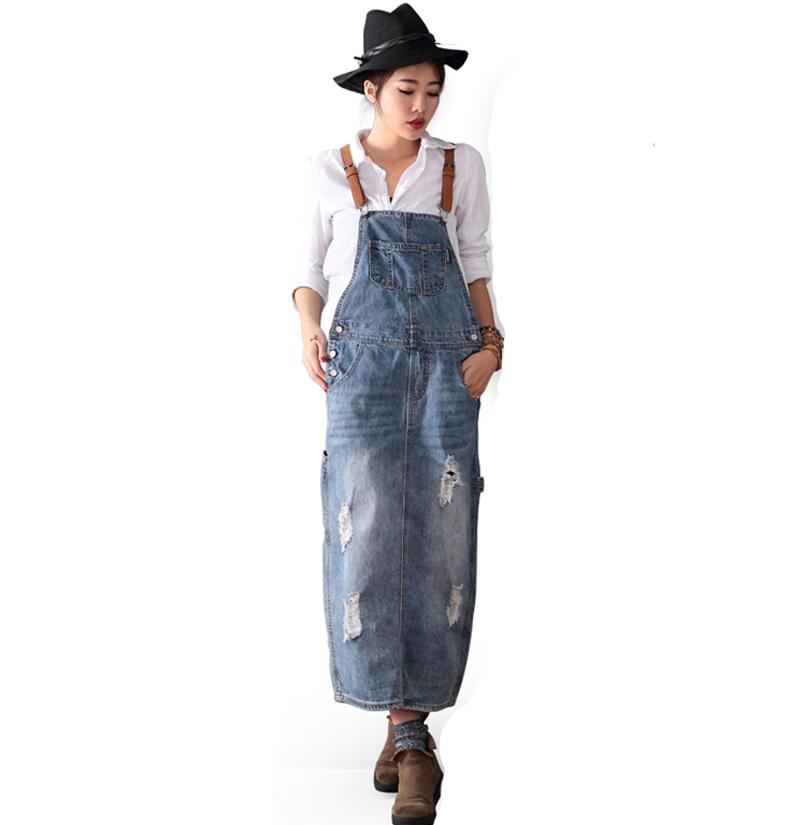 MM retro denim Gadis bagian panjang gaun tali rok (Cahaya biru)