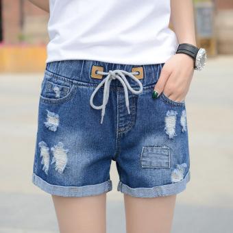 MM versi Korea dari pinggang tinggi celana pendek denim elastis (Dengan warna biru)