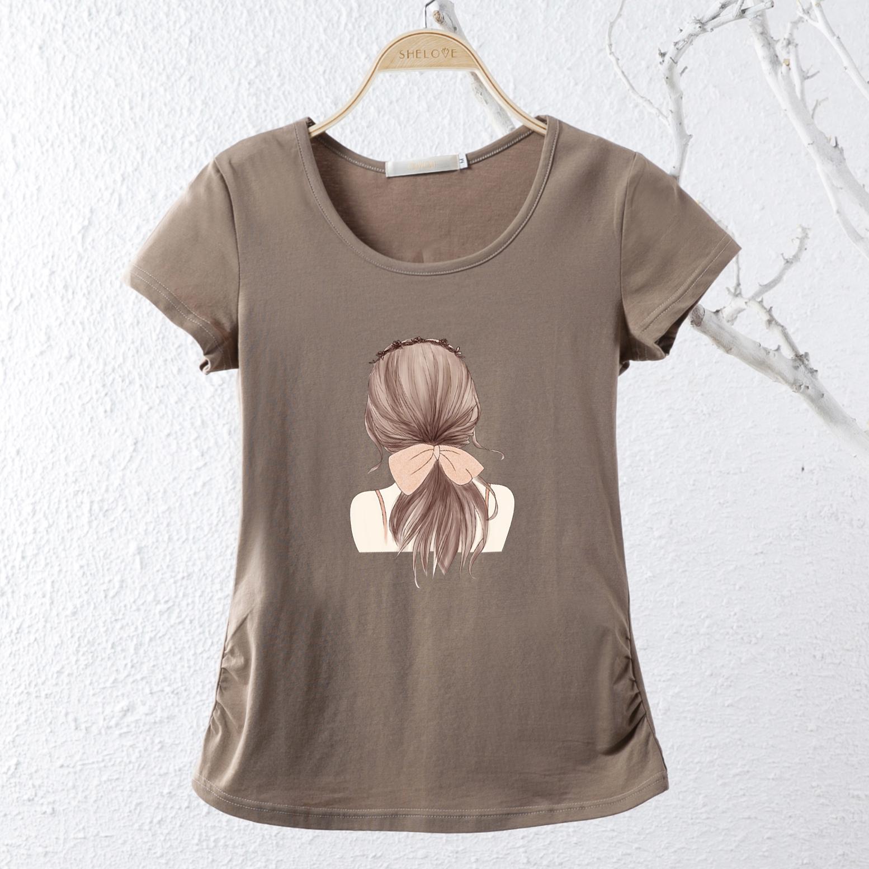 MM versi Korea untuk meningkatkan kode baru lengan pendek katun t-shirt (Khaki)