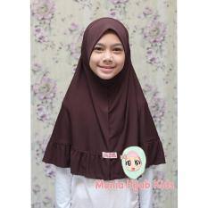 MONIA HIJAB KIDS TERLARIS jilbab anak Keruding anak instan Jilbab sekolah Jilbab Candy size L usia 6-10 tahun warna Dark brown