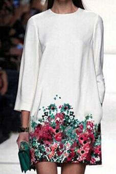 Jual Moonar Kerah Bulat Lengan Baju Panjang Bunga Cetak