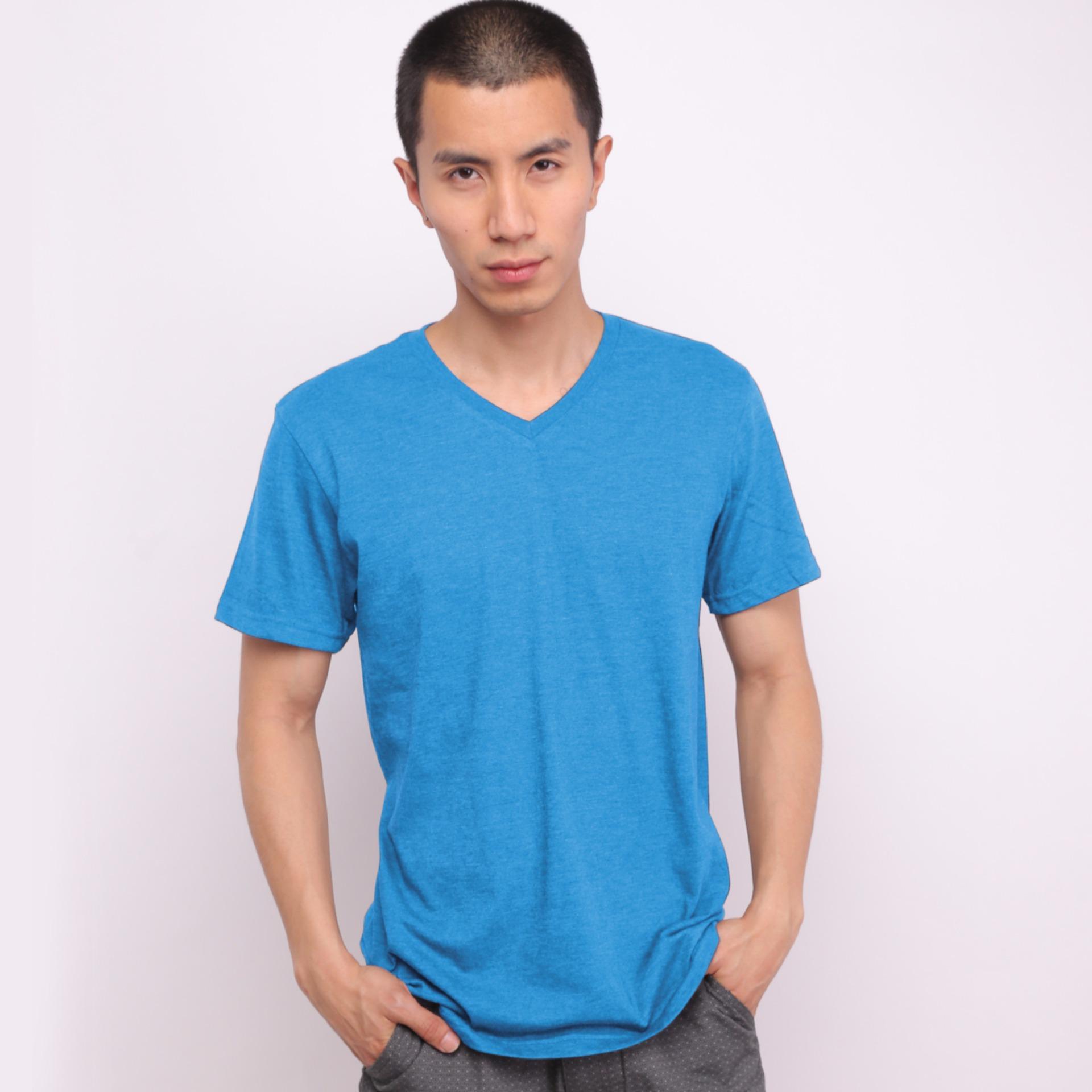 Belanja Murah Muscle Fit Kaos Polos T Shirt V Neck Lengan Pendek Green Misty Cotton Biru