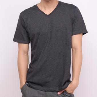 Muscle Fit Kaos Polos T-shirt V-neck Lengan Pendek Cotton - Misty Hitam