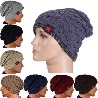 ... Musim Dingin Yang Hangat Unisex Pria Wanita Tengkorak Topi  RajutanLonggar Kupluk Topi Hip-Hop Abu f33b77582b
