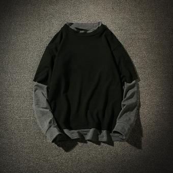 Kaos Seolah olah Dua Potongan Lengan Panjang Baju Dalaman Korea Fashion Style Pria Abu. Source