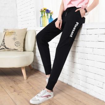 Musim Gugur Dan Musim Dingin Korea Fashion Style Katun Siswa Terlihat Langsing Harem Celana Tambah Beludru Olahraga Celana (Celana panjang PL dicetak model hitam)
