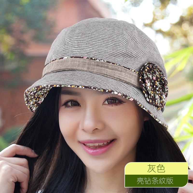 Musim semi dan musim gugur perempuan Korea Fashion Style baret topi topi (Berlian terang bergaris