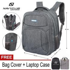 Navy Club Tas Ransel Laptop 5932 Backpack Expandable Upto 15 Inch - Hitam Bonus Bag Cover + Laptop Case