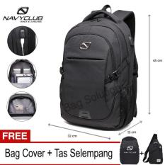 Navy Club Tas Ransel Laptop - Tas Pria Tas Wanita Tas Laptop - Backpack built in USB Charger Up to 15 inch 62061 - Black (Free Bag Cover + Free Tas Selempang)