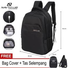 Navy Club Tas Ransel Laptop - Tas Pria Tas Wanita Tas Laptop - Backpack built in USB Charger Up to 15 inch Anti Air 5918 - Hitam (Free Bag Cover + Free Tas Selempang)