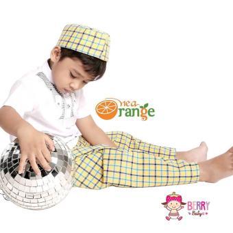Gambar Nea Orange Set Koko Sarung Instan Peci Anak Lebaran Motif H Kuning