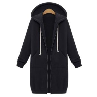 New Arrival Winter Coats Jacket Women Long Hooded Sweatshirts Coat Casual Zipper Outerwear Hoodies Plus Size Black - intl ...