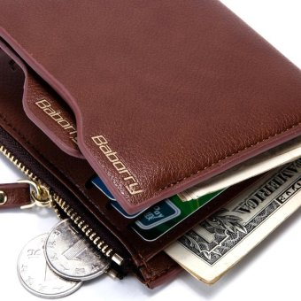 ... New Men Antimagnetic Anti RFID Wallet Men Short Wallet with the Zipper - Coffee - 5