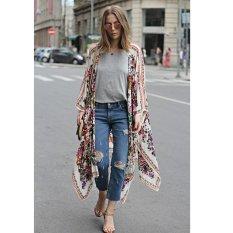 New Women Chiffon Kimono Cardigan Floral Print Asymmetric Boho Loose Outerwear Beachwear Bikini Cover Up White - intl