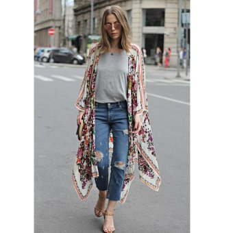 New Women Chiffon Kimono Cardigan Floral Print Asymmetric Boho Loose Outerwear Beachwear Bikini Cover Up White - intl